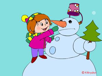 Дети лепят снеговика (flash прикол)