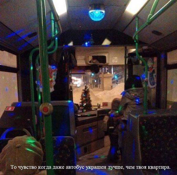 Когда автобус украшен