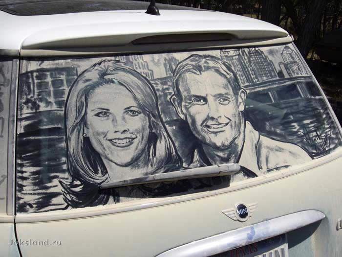 Рисунки на грязных автомобилях (14 фотографий)