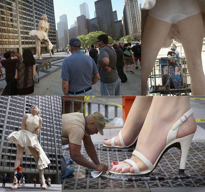 Огромный памятник Мэрилин Монро (12 фотографий + видео)