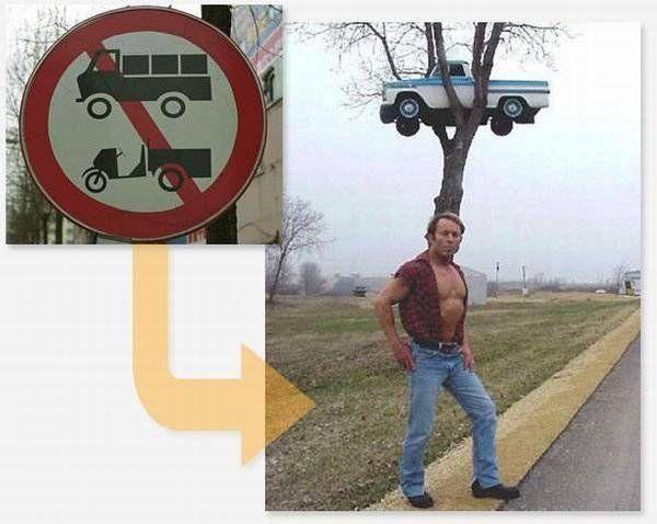 Странные дорожные знаки и их расшифровка (14 фотографий)