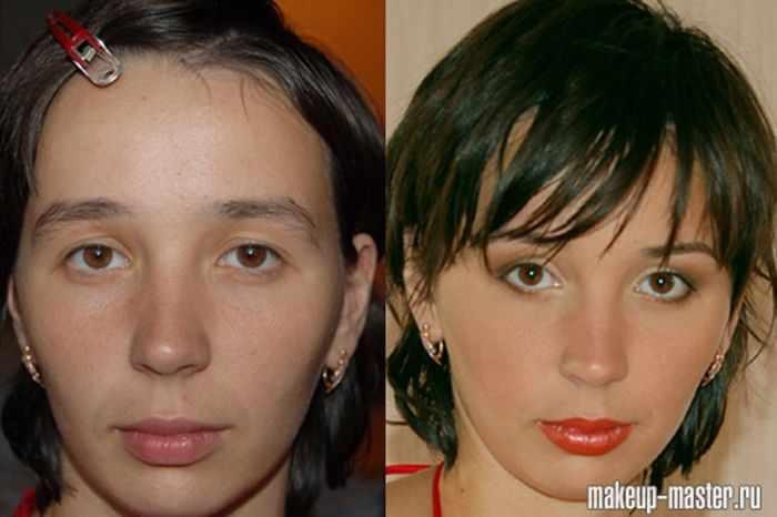До и после макияжа (42 фотографии)