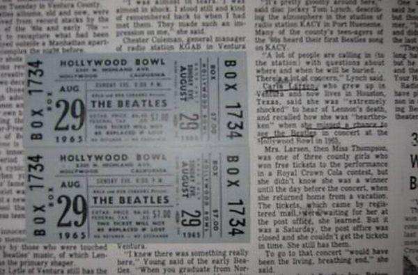 Неиспользованные билеты на концерт Beatles в 1965 году. 2008 год.<br>Начальная ставка - 2000 долларов.