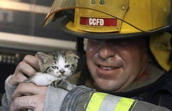 Пожарник идет по улице и видит мальчика с тележкой красного цвета