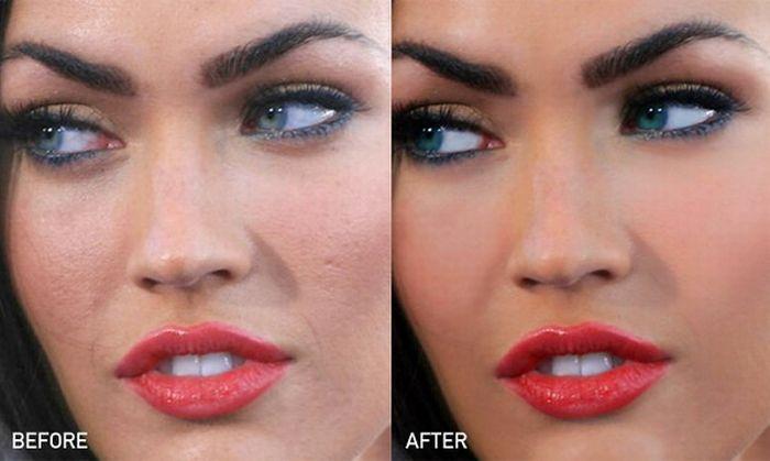 Меган Фокс до и после Фотошопа (10 фотографий)