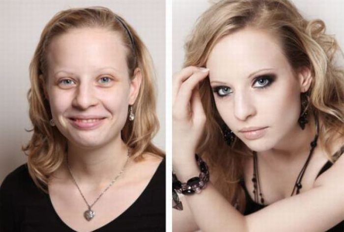 С макияжем и без