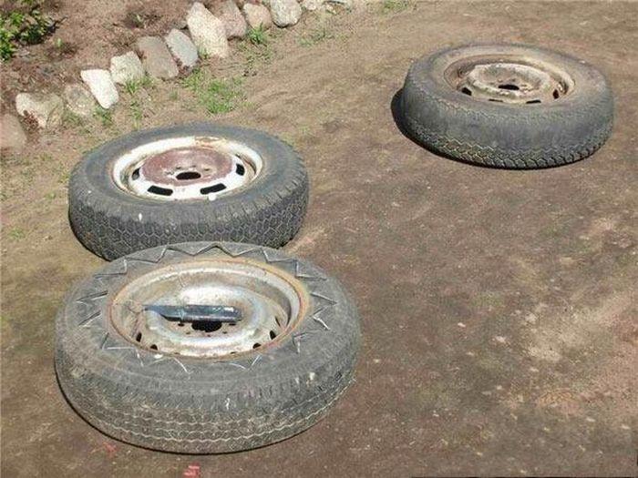 Вторая жизнь для автомобильных шин (15 фотографий)