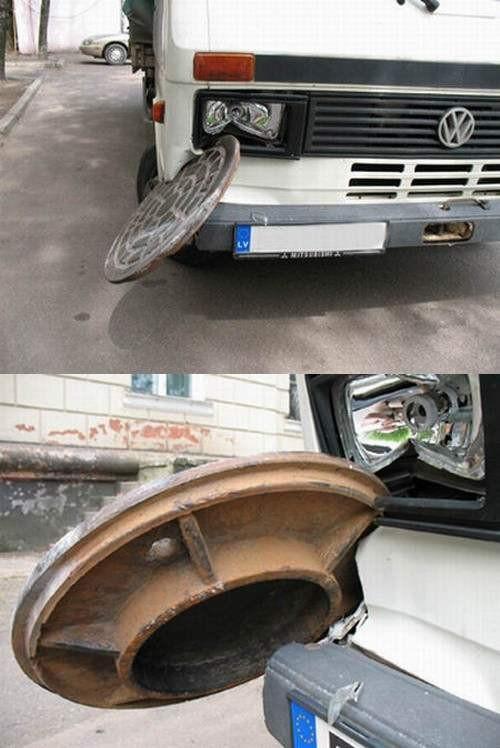 Фольксваген словил канализационный люк