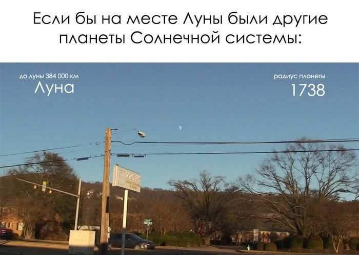 Если бы на месте Луны были другие планеты Солнечной системы (7 фото)